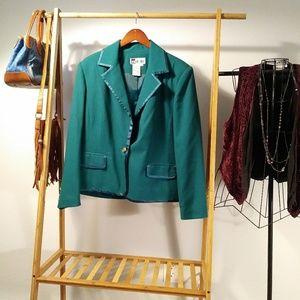Blazer Jacket Work Career Green Gold Career 16 VTG